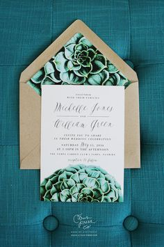Become absolutely smitten with these modern meets vintage inspired succulent wedding invitations. This invitation suite is perfectly suited for an