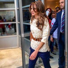 24 May 2016 - Queen Rania Rania at IAA independence day bazar - bag by Jimmy Choo