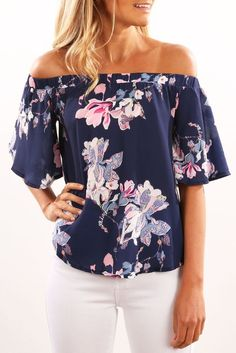 Singwing Off the shoulder Printed Flower Blouse Summer Shirts
