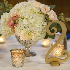 gold and mercury glass centerpiece - www.bellacalla.com - Bella Calla - Denver Vail Aspen Florist