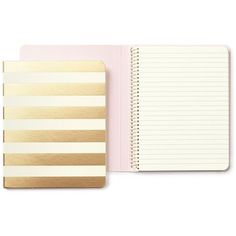 Kate Spade Gold Stripe Notebook ($14) ❤ liked on Polyvore featuring home, home decor and stationery