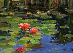 Lilies on Water by Kathryn Stats - Greenhouse Gallery of Fine Art