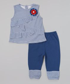 Another great find on #zulily! Navy Stripe Ruffle Tunic & Leggings - Toddler & Girls by Rumble Tumble #zulilyfinds