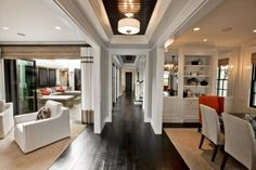 love the dark wood floors and ceiling
