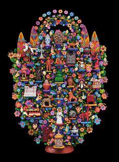 Óscar Soteno Elías. Artisan Tree of Ibéroamerica, 2012. Molded clay, modeled with raised clay applications and polychrome in cold. Metepec, Estado de Mexico, Mexico. Image Courtesy of Fomento Cultural Banamex, A.C.  #GrandesMaestros