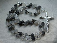 Dominican Rosary Beads with Faceted Silver Quartz, Cracked Quartz, Hematite/Haematite and Sterling Silver by GardenofDevotion
