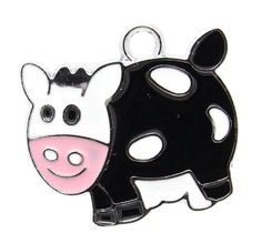 4 MOO COW Enamel and Silver Metal Charms by SmartParts on Etsy, $2.99