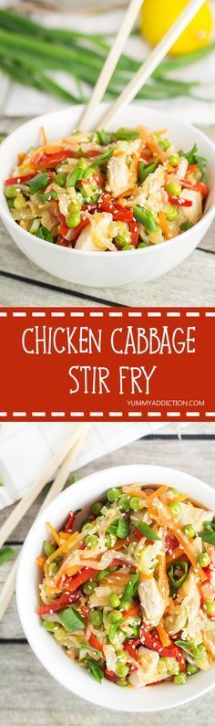 This colorful Chicken Cabbage stir fry is super easy to make and is so GOOD! Features carrot, shallot and peas!