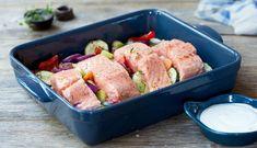 Laks og grønnsaker Fresco, Fish And Seafood, I Love Food, New Recipes, Potato Salad, Food To Make, Main Dishes, Sausage, Pork