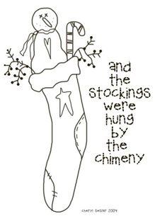 A prim Christmas stocking to color. |  Free Christmas Coloring
