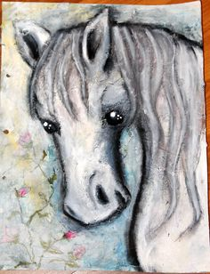 Mixedmedia, artjounal page Horse called SunShine