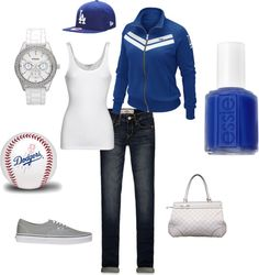 Designer Clothes, Shoes & Bags for Women Dodgers Outfit, Dodgers Gear, Let's Go Dodgers, Dodgers Baseball, Dodgers Apparel, Polyvore Outfits, Sport Outfits, Cute Outfits, Baseball Outfits