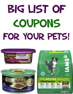 BIG List of Coupons for Your Pets: $2.00 off 1 Purina, $2.00 off 1 IAMS + more! #dogs #cats