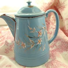 Antique French Enamelware Coffee Pot, hand-painted, signed
