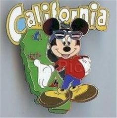 MICKEY MOUSE Stands NEXT TO STATE Of CALIFORNIA JERRY LEIGH DISNEY PIN