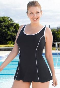 Chlorine Resistant! Beach Belle Sporty Signature Princess Seam Swimdress - Plus Size Swimsuit Plus Size Swimsuits