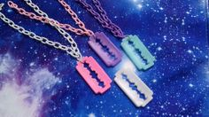 Pastel Goth Resin Razorblade Necklace Fairy Kei by VixieAndMynx, $8.00