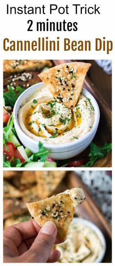 This white kidney bean dip is made from scratch by cooking dried beans in an instant pot. It is such a change from hummus. #whitebean #dip #instantpot Appetizers For A Crowd, Vegan Appetizers, Appetizer Recipes, Cannellini Bean Dip, Canellini Beans, White Bean Recipes, Bean Dip Recipes, White Kidney Beans, White Beans