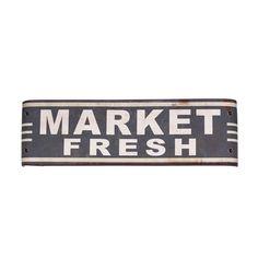 International 'Market Fresh' Grey Metal Sign Wall Art (Sign Market Fresh)