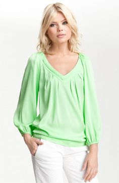 DVF Cahill pleated v-neck silk top in spring leaf - love this color, love the draping and the sleeves