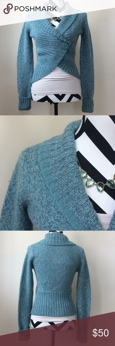"""{Anthropologie} HWR Monogram cardigan {Anthropologie} HWR Monogram cardigan. Gorgeous teal green color. One button, but actual a snap holds it closed. 42 wool 30 acrylic 28 alpaca. Laying flat approx 21"""" shoulder to hem, approx 17"""" pit to pit. Size S. Excellent condition. #455 Anthropologie Sweaters Cardigans"""