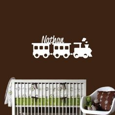 Train Wall Decal with Name - Custom Children's Bedroom Nursery - Boy Vinyl Wall Art Sticker Room Decor - CM117B on Etsy, $32.50