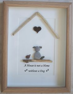 Pebble Art framed Picture- Cats make a House a Home-Pebble Art framed Picture- Cats make a House a Home Handicrafts & handicrafts with children. Picture made of stones and driftwood. Pebble Art framed Picture Cats make a House a Home - Pebble Pictures, Stone Pictures, Sea Glass Crafts, Sea Glass Art, Stone Crafts, Rock Crafts, Selling Handmade Items, Shell Art, Beach Crafts