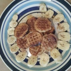 Start your day with a healthy vegan breakfast for a healthy mind. #vegan #veganbreakfast #goodmorning #eathealthy  Pictured: mini #organic cinnamon apple waffles  sliced bananas & maple syrup .This is serving 1 of 4 along with some chocolate soymilk for calcium.