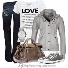 This is such an awesome jacket! I love the jeans and the gray Converse that go along with it...this is so simple I would wear it all the time!
