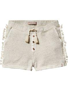 Shorts aus Sweatshirtstoff mit Fransen
