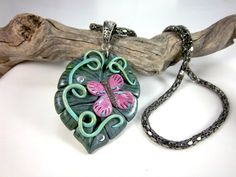 Pink Butterfly on leaf - Polymer clay pendant on gun-metal mesh chain $26.00