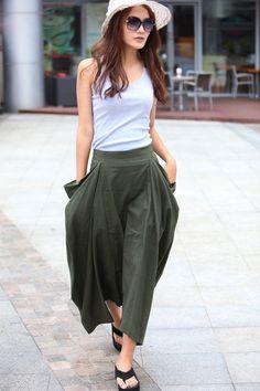 Lagenlook Maxi Skirt Big Pockets Big Sweep Long by Sophiaclothing, $64.99