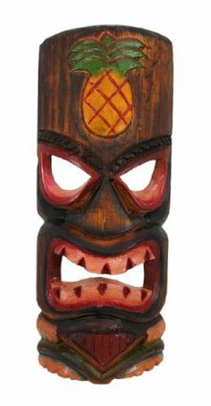 11 Inch Angry Tiki Wall Mask Pineapple Hand Painted by Things2Die4. $14.99. Hand Carved. 11.5 Inches Tall. Hand Painted. This awesome, angry looking tiki wall mask is hand-carved from Indonesian Albessia wood, and hand-painted to show off the detail. It features a carved and painted pineapple at the top and a big grimace on the face of the idol. Measuring 11 1/2 inches tall, 4 3/4 inches in wide, it looks great outdoors in patios and tiki bars, or indoors in dens and liv...