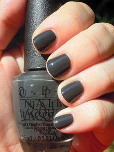 OPI Nein! Nein! Nein! Ok Fine! -- nice very dark grey creme that doesn't read black