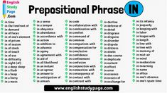 85 Prepositional Phrase IN - English Study Page Learn English Words, English Study, Prepositional Phrases, In Distress, Prepositions, Infancy, Grammar, Disorders, Collaboration