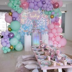 Every little girls dream party 💗🧜🏼♀️ by Girls Party Decorations, Girl Baby Shower Decorations, Balloon Decorations, Mermaid Party Favors, Mermaid Theme Birthday, Birthday Balloons, 1st Birthday Parties, Baby Girl Shower Themes, Partys