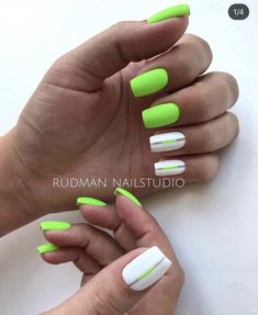 Neon Green Nails, Neon Nails, Pink Nails, My Nails, Cute Acrylic Nails, Cute Nails, Pretty Nails, Neon Nail Designs, Short Nail Designs