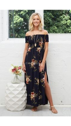 Babylon Maxi Dress in Navy Rose Print