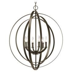 "Add a sophisticated touch to your foyer or master suite with this 3-light pendant, showcasing an armillary-inspired silhouette and an antique bronze finish.     Product: PendantConstruction Material: MetalColor: Antique bronzeFeatures: DimmableUL and cUL listedAccommodates: (6) 60 Watt candelabra base bulbs - not includedDimensions: 30"" H x 27.75"" Diameter"