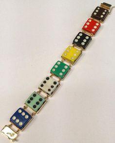 Dice bracelet...#bracelets #bracelet #color #colors #ideas #lifestyle #art #luxury #jewelry #her #gifts #chic #glamour #fashion #dress #design #vintagejewelry #vintage #baubles #her #him #cigar #car #cufflinks #dice #vegas #atlanticcity #chance #stylish #styles #style