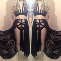 SALEM - Long Sheer Black Mesh Skirt Wrap