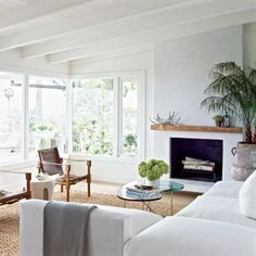 beachwood+mantle | love this beach-like feel with the big windows and white furniture :)