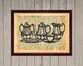 Teapot tea British teatime coffee set print Rustic kitchen dining room decor Vintage Retro poster Dictionary page Home interior cafe 0015