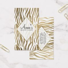 #professional - #Modern white faux gold zebra print beauty salon business card