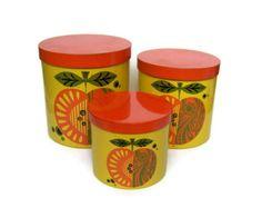 Vintage Canisters Set of Three Yellow Orange Apple Baked Enamel Lidded Jars with Retro Fruit Design.