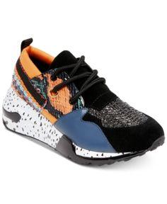 b6b33bfdc84 Steve Madden Women s Cliff Sneakers - Orange 5.5M Dad Sneakers