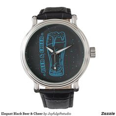 Elegant Black Beer & Cheer Watch Vintage Leather, Vintage Men, Vintage Black, Out Of Style, Elephant Gifts, Cheer, Quartz, Mens Fashion, Watches