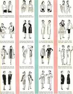 Glamour Magazine, 1944. What to wear and what not to wear while pregnant -- so amusing!