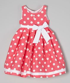 Look at this Shanil Pink Polka Dot Bow Dress - Toddler on today! Baby Girl Frocks, Kids Frocks, Frocks For Girls, Little Dresses, Little Girl Dresses, Girls Dresses, Toddler Dress, Toddler Outfits, Baby Dress
