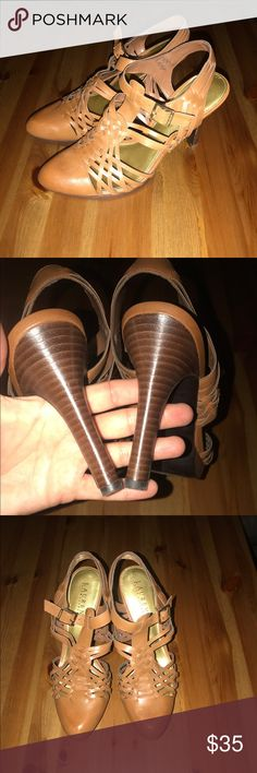 Ralph Lauren heels LAUREN Ralph Lauren tan heels. Gold buckle. Leather. Very comfortable. Only worn a few times. Lauren Ralph Lauren Shoes Heels